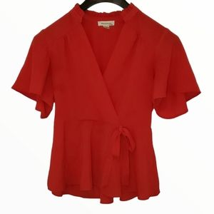 Monteau Red Cropped Blouse